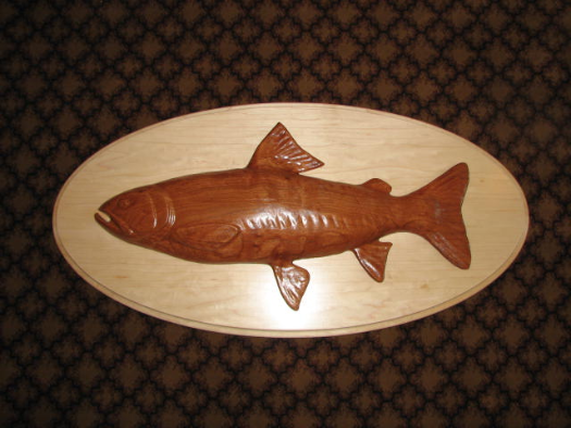 Trophy Cutthroat Trout Wood Carving