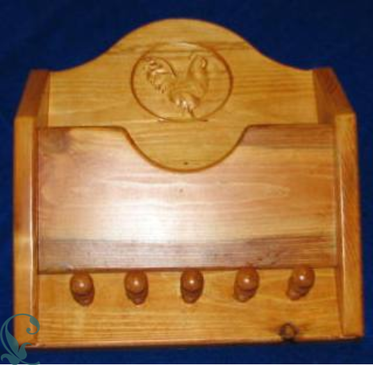 Custom designed and carved wood key rack and letter holder - Letter rack and key holder ...
